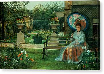 In The Plesaunce Canvas Print by John Atkinson Grimshaw