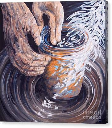 In The Potter's Hands Canvas Print by Eloise Schneider