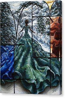 Oil On Canvas Print - In The Quiet Of The Snow by Carlos Flores