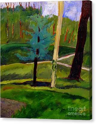 In The Rough Blue Spruce Plein Air Canvas Print