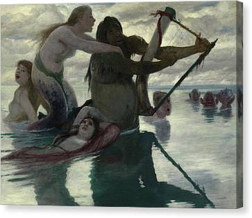 In The Sea Canvas Print by Arnold Bocklin