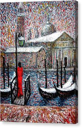 In The Snow In Venice Canvas Print