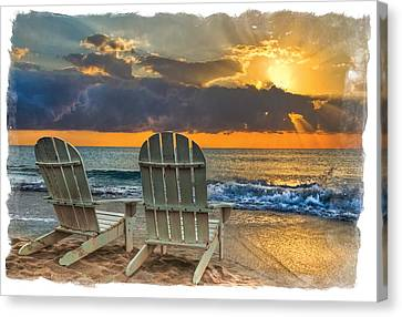 Adirondack Chairs On The Beach Canvas Print - In The Spotlight Bordered by Debra and Dave Vanderlaan