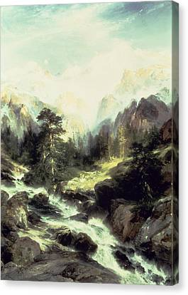 In The Teton Range Canvas Print by Thomas Moran
