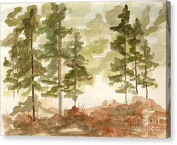 Canvas Print featuring the painting In The Trees by Jackie Mueller-Jones