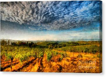 Grape Vines Canvas Print - In The Vineyard Winery Landscape by Edward Fielding