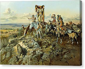 In The Wake Of The Hunters Canvas Print by Charles Marion Russell