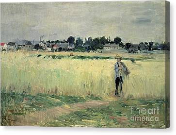 In The Wheatfield At Gennevilliers Canvas Print by Berthe Morisot