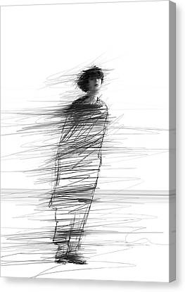 Pencil Art Canvas Print - In The Wind by H James Hoff