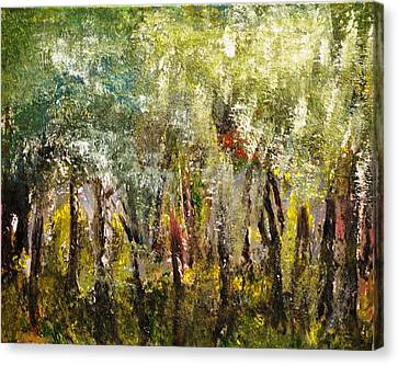 Canvas Print featuring the painting In The Woods by Evelina Popilian
