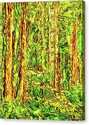 Canvas Print featuring the digital art In The Woods - Forest Trees Vashon Island Washington by Joel Bruce Wallach