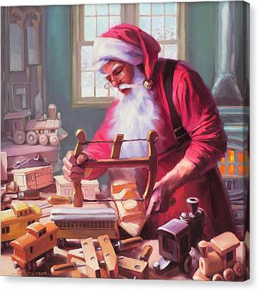 Santa Canvas Print - In The Workshop by Steve Henderson