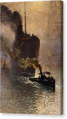 In Tow On The Thames In The Fog Canvas Print by Emile Claus
