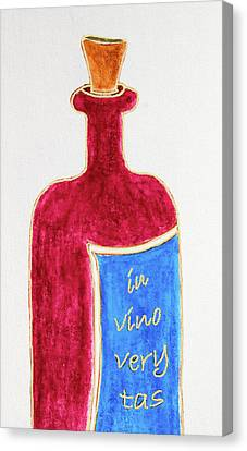 Canvas Print featuring the drawing In Vino Very Tas by Frank Tschakert