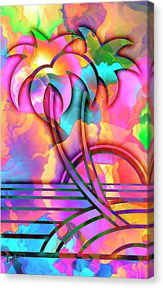 In Winter We Dream Of Paradise - Vintage Art Deco Stencil Tropical Painting Canvas Print by Rayanda Arts
