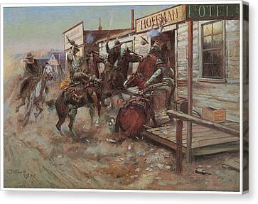 In Without Knocking Canvas Print by Charles M Russell