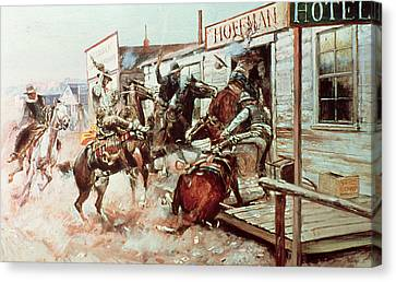In Without Knocking Canvas Print by Charles Marion Russell