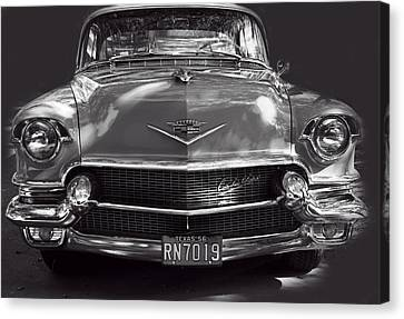 In Your Face - 1956 Cadillac Bw Canvas Print