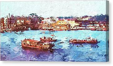 Canvas Print featuring the digital art Inchon Harbor by Dale Stillman