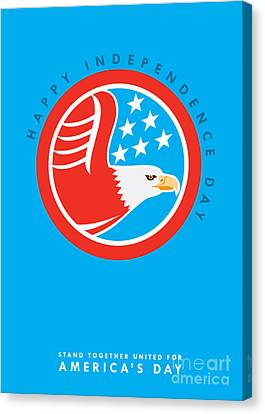 Independence Day Greeting Card-american Bald Eagle  Canvas Print