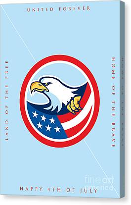 Independence Day Greeting Card-american Bald Eagle Clutching Flag  Canvas Print