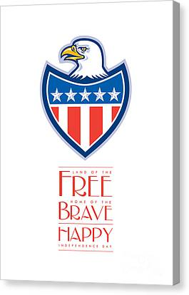 Independence Day Greeting Card-american Bald Eagle Flag Shield Canvas Print