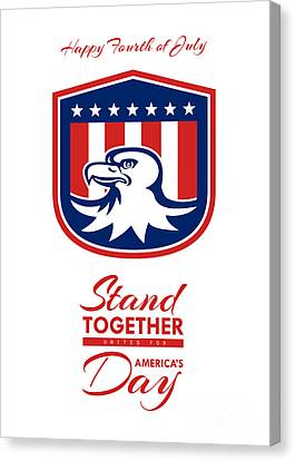 Independence Day Greeting Card - American Bald Eagle Head Flag Canvas Print