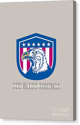 Independence Day Greeting Card-american Bald Eagle Head Side Stars  Canvas Print