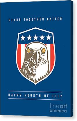 Independence Day Greeting Card-american Bald Eagle Head Stars Shield Canvas Print