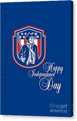 Independence Day Greeting Card-american Patriot Holding Bayonet Rifle Canvas Print