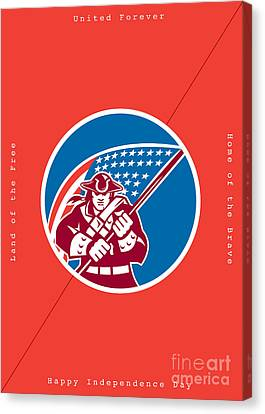 Independence Day Greeting Card-american Patriot Holding Flag Canvas Print