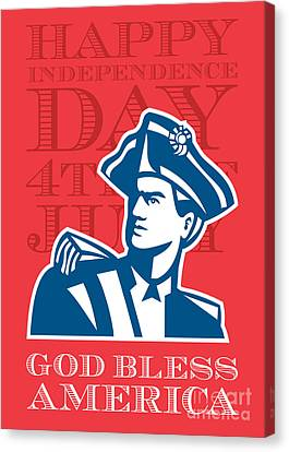 Independence Day Greeting Card-american Patriot Soldier Bust Canvas Print