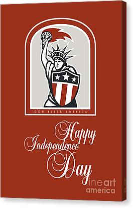 Independence Day Greeting Card-statue Of Liberty With Flaming Torch Shield Canvas Print