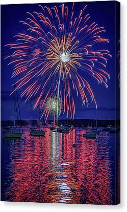 Red Fireworks Canvas Print - Independence Day In Boothbay Harbor by Rick Berk
