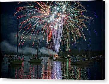 Red Fireworks Canvas Print - Independence Day In Maine by Rick Berk