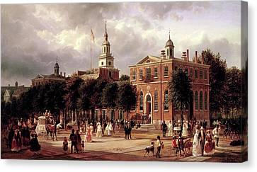 Canvas Print featuring the painting Independence Hall by Ferdinand Richardt