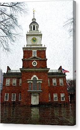 Independence Hall In Philadelphia Canvas Print by Bill Cannon