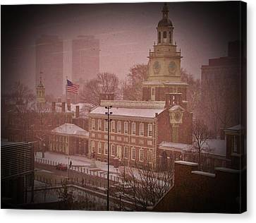 Independence Hall In The Snow Canvas Print by Bill Cannon