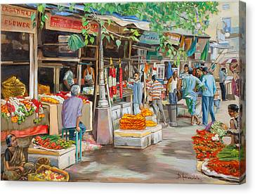 India Flower Market Street Canvas Print by Dominique Amendola