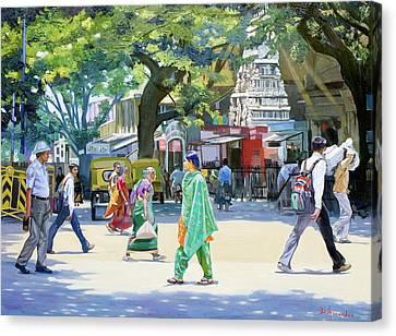 India Street Scene 2 Canvas Print by Dominique Amendola