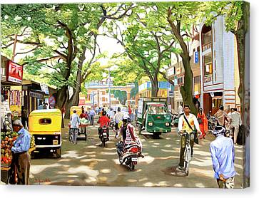 India Canvas Print - India Street Scene by Dominique Amendola