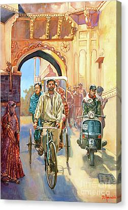 India Street Scene With A Bicycle Rickshaw Canvas Print by Dominique Amendola