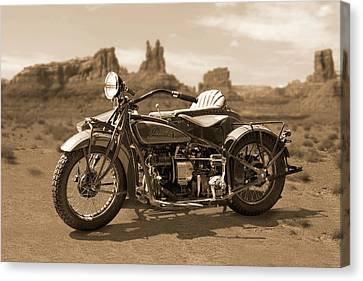 Indian 4 Sidecar Canvas Print by Mike McGlothlen