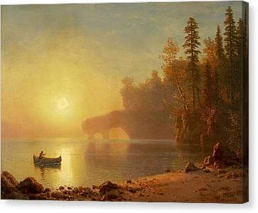 Indian Canoe Canvas Print by Albert Bierstadt