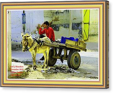 Indian Donkey Cart Owner H A With Decorative Ornate Printed Frame. Canvas Print by Gert J Rheeders
