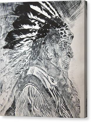 Indian Etching Print Canvas Print by Lisa Stanley