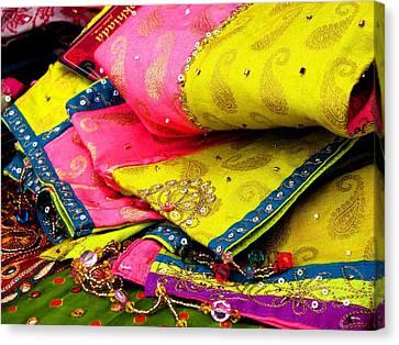 Indian Fabric Two Canvas Print by Elizabeth Hoskinson