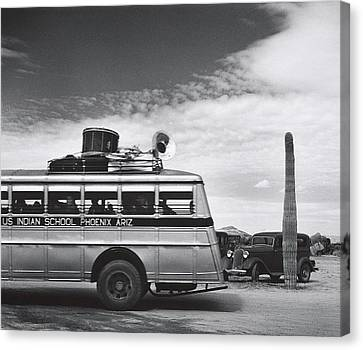 Indian High School Band On The Road Somewhere In Arizona 1937 Canvas Print by David Lee Guss