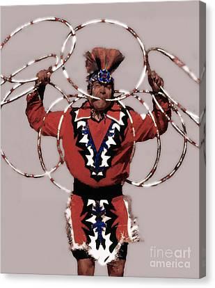 Indian Hoop Dancer 3 Canvas Print by Linda  Parker