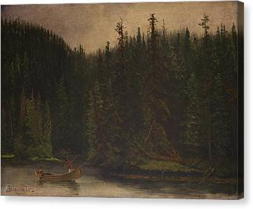 Indian  Hunters  In  Canoe Canvas Print